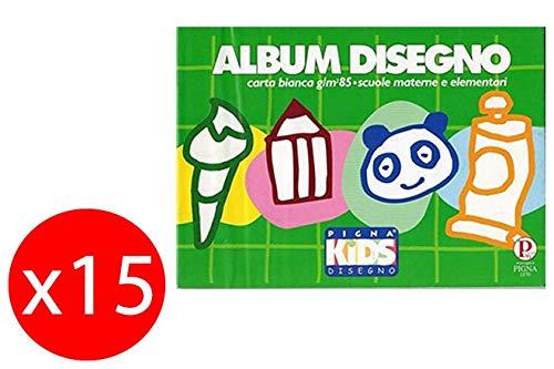 Pigna Album da disegno bianchi a quadretti 5mm 170x240mm 16 Fogli 85g/m2 Confezione da 15 album