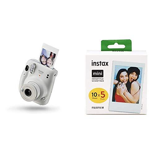 Instax Mini 11 Camera, Ice White + Fujifilm Instax Mini Instant Film, 5X 10 Blatt (50 Blatt), Weiß