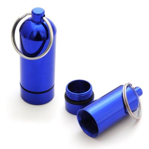 Lot de 2 mini-capsule étanche-boîte de rangement pour petits objets, porte-clés piluliers étanches avec capuchon à visser avec joint en caoutchouc, hauteur : 55 mm, composition : couleur : alu, ganzoo bleu