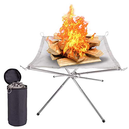 Emersom Portable Outdoor Fire Pit Camping Stainless Steel Mesh Fireplace Foldable for Outdoor Patio