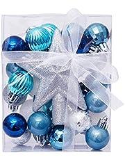 Torey 30 stuks gemengde combinatie, onbreekbaar en schokbestendige, herbruikbare kerstballen en boompunt, ster (blauw wit zilver) voor draagbare kerstboomversiering.