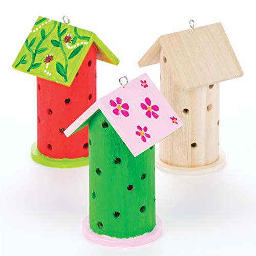 Baker Ross AV954 Wooden Ladybird House-Pack of 2, Ladybug Habitats for Kids, Decorate and Display for Children's Painting, Arts and Crafts, 13cmx7cm
