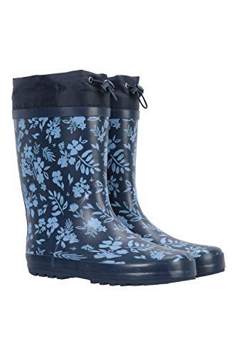 Mountain Warehouse Bedruckte Damengummistiefel mit Regenschutz - Gummistiefel wasserdicht Damen, Regenstiefel Damen mit Kordelzug - Ideal zum Wandern, Trekking, Outdoor Blau 38 EU