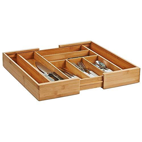 Zeller 25277 Besteckkasten, ausziehbar, Bamboo, ca. 35-58 x 43 x 6,5 cm