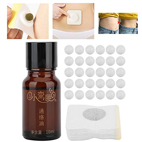 Belly Slimming Patch, Traditional Chinese Medicine Slimming Pads Fat Burning Patches Weight Loss Stickers Anti-Obesity Slimming Patches, 30 tablets + 30 slimming stickers + Tongluo Oil 10ml /bottle