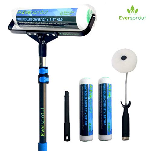 EVERSPROUT 7-to-19 Foot Paint Roller Kit (25 Ft. Reach) | Extra Wide 12-inch Roller Frame, Corner Roller Brush, Extension Pole, 2X Poly-Wool Roller Covers for Indoor/Outdoor | Works w/All Paint Types