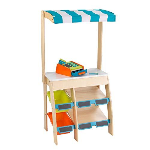 KidKraft 53017 Puesto de mercado con comestibles Play Grocery Store Marketplace de madera, juego de imitación para niños con accesorios incluidos