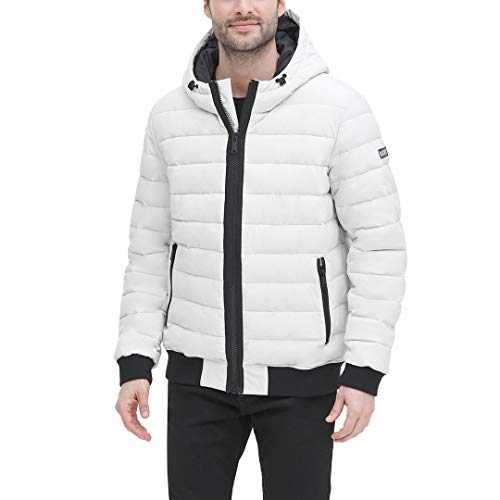 DKNY Men's Quilted Performance Hooded Bomber Jacket, Ice Matte Stretch, Large