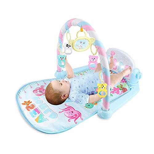 QiaoJia Baby-Spielmatte, Fitnessstudio, Musik, Lichter, lustiges Klavier, für Jungen und Mädchen, Fitnesstracker, frühe Bildung, Blau