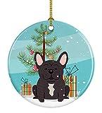 Caroline's Treasures Merry Christmas Tree French Bulldog Brindle Ceramic Ornament, Multicolor
