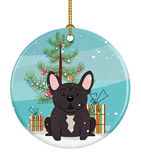Caroline's Treasures Merry Christmas Tree French Bulldog Brindle Ceramic Ornament, Multicolor