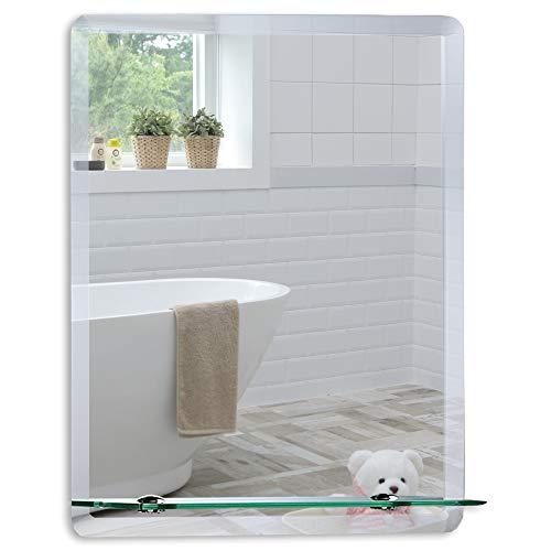Neue Design Schöner rechteckiger Badezimmerspiegel mit Ablage, modern und stylish, mit abgerundeten Kanten, Wandbefestigung, Badspiegel, Wandspiegel, abgeschrägte Kante, Spiegel 50cm X 40cm