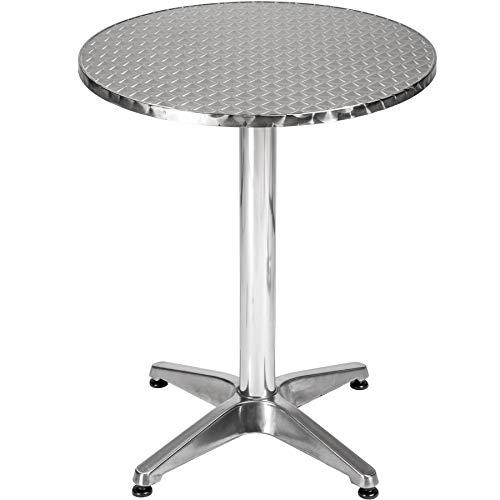 TecTake Table de Bar Haute, 2 en 1, Aluminium, Hauteur Réglable : 74 ou 114 cm, Argent