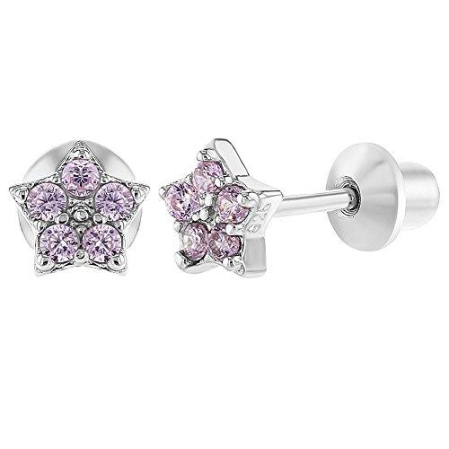 Season Jewelry Baby peuter meisjes - oorbellen met schroefsluiting veilig ster 925 sterling zilver roze CZ zirkonia