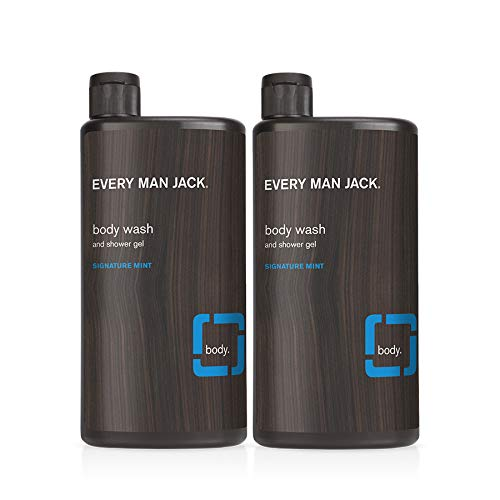 Every Man Jack Mens Nourishing Body Wash for All Skin Types - Cleanse, Nourish, and Soothe Your Skin with Naturally Derived Coconut, Glycerin, and a Cool Signature Mint Scent - 16.9-ounce - Twin Pack