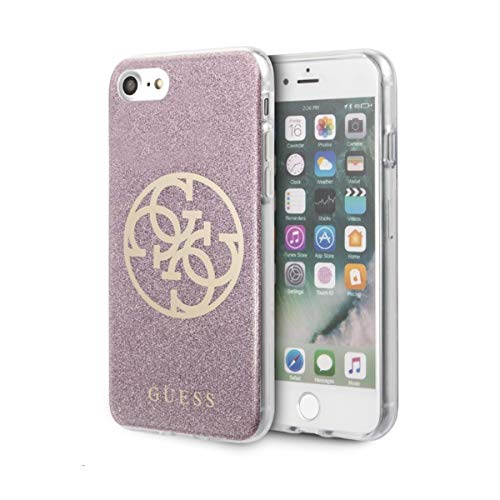 Guess PC/TPU Case Glitter 4G voor Apple iPhone 8, SE 2 - roze