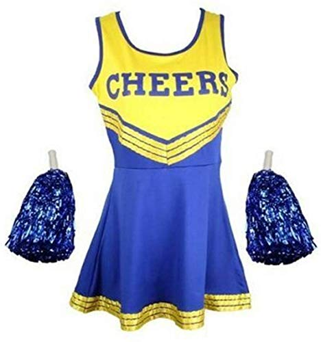Ladies and Girls Cheerleader ouLadies High School Cheer Girl Uniform Cheerleader with Pompoms (Yellow and Blue, Small Adult)