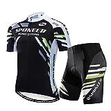 sponeed Men's Biking Jersey Suits Shirts Indoor Bike Shorts Tights Padded Road Racing Cycle Uniforms US X-Large Green Black