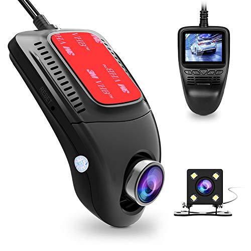 Tenswall Auto Kamera, 1080P Full HD WiFi Dash Cam Vorder- und Rückseite Dual Car Cameramit 170° Weitwinkelobjektiv, WDR, Bewegungserkennung, Parkmonitor, Loop-Aufnahme, Nachtsicht und G-Sensor DVR