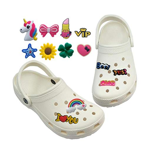 Hotaden Shoe Charms 44 Pcs Pvc Shoes Charms for and Cute Flower Shape Suit for Bracelet Wristband Kids Party Birthday Gift