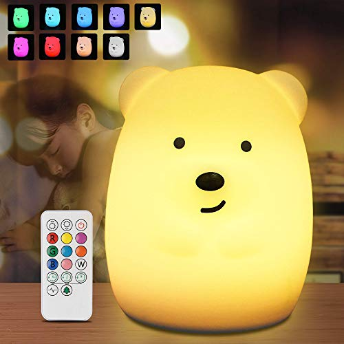 Nachtlicht Baby, Redmoo Nachtlicht Kind Silikon USB LED Nachtlicht Kinder Nachttischlampe Touch Dimmbar Nachtlampe mit Fernbedienung 9 Farben Stimmungslicht USB Aufladung für Kinderzimmer Schlafzimmer