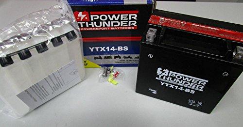 Batterie Power Thunder YTX14-BS (scellée avec acide fournie) 12 V/12 Ah.