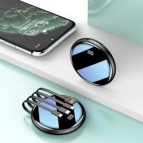 Stool Mini Cargador Redondo Compacto 20000Mah Banco De Energía para Exteriores Paquete De Batería Portátil Batería Externa Móvil De Emergencia Compatible con Tableta Inteligente,Negro