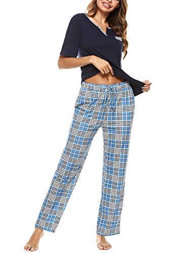 Doaraha Pijama a Cuadros para Mujer Camiseta y Pantalones Pijamas Manga Larga Celosía Ropa de Dormir de Algodón Manga Corta con Cuello de Muesca 2 Piezas (A#1 Azul Profundo (pantalón Largo), 2XL)