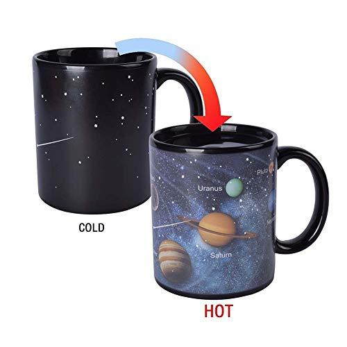 Comtervi Farbwechsel tassen,Sternenhimmel Hitze Farbwechsel Tassen,Sonnensystem Verfärbung Kaffeetasse Keramik Tassen Becher/Pott für Kaffee,Geschenk (Thermische Verfärbung)