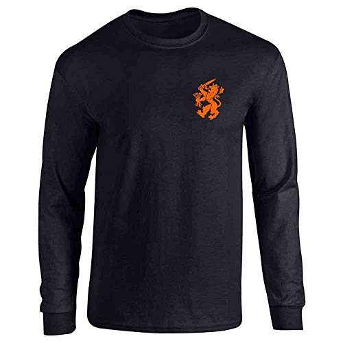 Dutch Soccer Retro National Team Holland Costume Black L Full Long Sleeve Tee T-Shirt