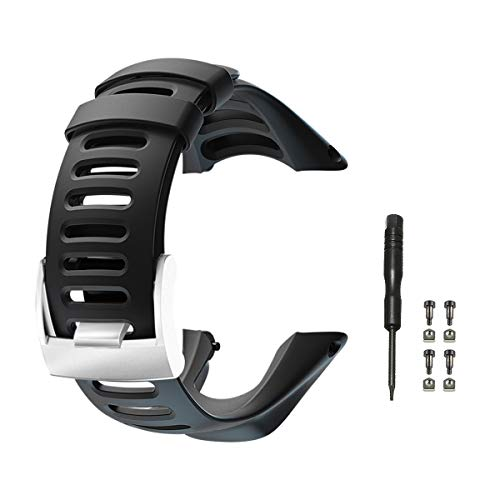 Vindar Cinturino dell'orologio Cinturino in Morbida Gomma per Suunto Ambit 1/2/2S/ 2R/3 Sport/3 Run/3 Peak, Regolabile, Cinturino Unisex, Nero (Include 1*Cacciavite + 4*Viti)