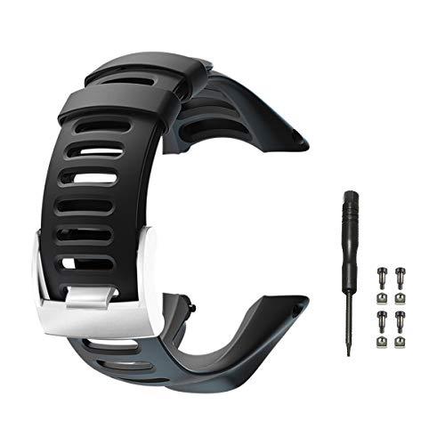 Vindar Bracelet avec Bracelet en Caoutchouc Souple pour Suunto Ambit 1/2 / 2S / 2R / 3 Sport / 3 Run / 3 Peak, Ajustable, Bracelet Unisexe, Noir (Comprend 1x Tournevis et 4X vis)