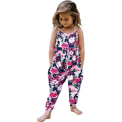 Sannysis Jumpsuit Overall Trainingsanzug Kinderbekleidung Ärmellos Spielanzug Bekleidung Kleinkind Mädchen Baby Kinder One Piece Floral Strap Romper Sommer Outfits T-Shirt Bodysuit Kleidung Sets