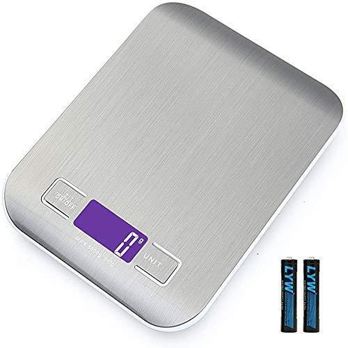 Básculas de cocina,Smart Digital Báscula con Pantalla LCD para Cocina de Acero Inoxidable, 5kg/11lbs, Balanza de Alimentos Multifuncional, Alta precisión hasta 1g, función de Tara (con 2 Baterías)