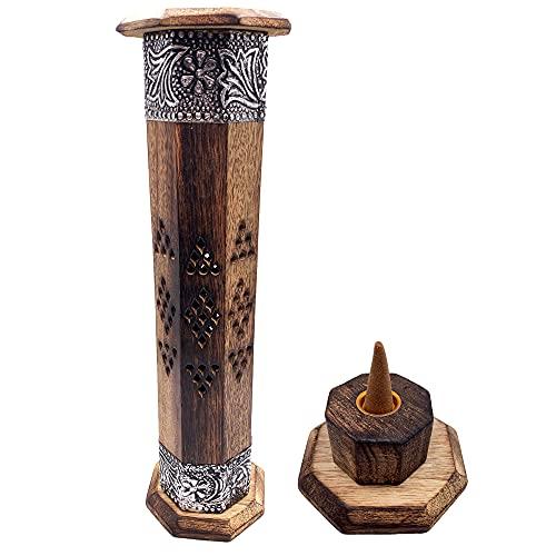 Quemador de Incienso (incensario) Torre de Madera Tallada artesanalmente en India, con Decorados en latón - Exclusivo y único diseño. 30x8x8 cm - Peso 280 g. Porta Incienso Madera.