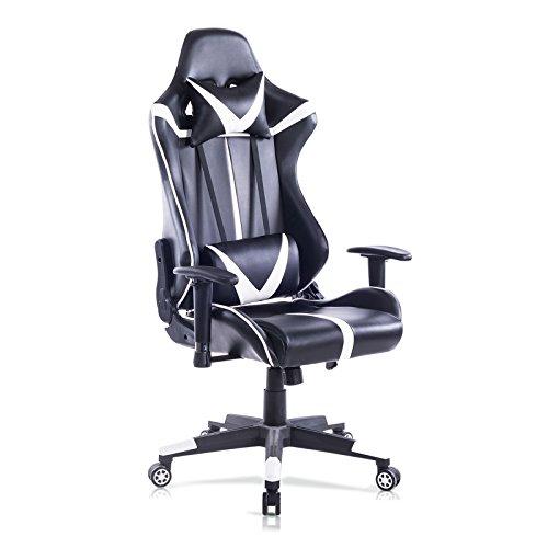 WOLTU® Racing Stuhl Gaming Stuhl Bürostuhl Schreibtischstuhl Sportsitz mit Armlehne, mit Kopfstütze und Lendenkissen, höhenverstellbar, dick gepolsterte Sitzfläche aus Kunstleder, Weiß, BS13ws