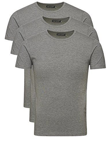 Jack & Jones T-Shirt Basic O-Neck Black Jack and Jones T-Shirt, Herren, Shirt (L, 3er Pack grau)