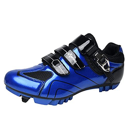 Zapatillas de Bicicleta de Montaña Antideslizantes para Hombre Mujer Zapatillas de Ciclismo MTB Transpirables Zapatillas de Carreras Profesionales SPD con Autobloqueo Blue-230