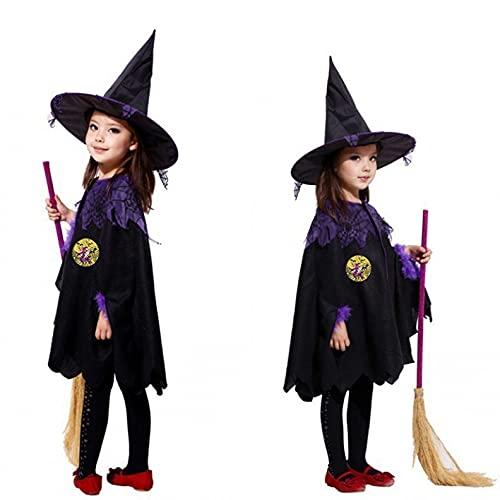 YWLINK Disfraz De Bruja NiñOs NiñA Vestido De Bruja con Sombrero Disfraz De MurciéLago para NiñA con Alas Vestido De Lujo Disfraz De Halloween Disfraz De Bruja PúRpura para Fiesta De Cosplay