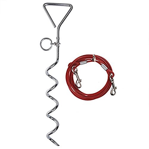 iapyx® Anlegespirale Anlegepflock mit Hundeleine 4.5m Meter Bodenanker Erdanker mit Laufleine