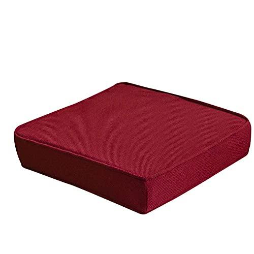 erddcbb Cojín de Asiento Cuadrado con Mullido, Cojines de Esponja Gruesos para sillas, Muebles de Patio, Almohadillas para Asientos de Suelo, Almohadillas para sillas de Interior y Exterior, Rojo, 4