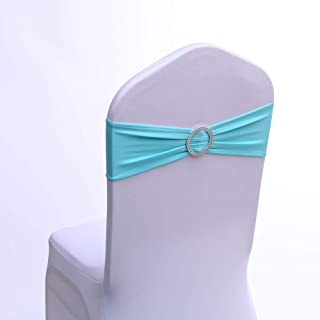 100PCS Stretch Wedding and Party Chair Decorations Chair Bands with Buckle Spandex Chair Sashes Bows Bands for Banquet Ceremony Reception 13Colors (Light Blue)