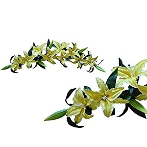 LINESS for Tiger Lily Yellow Swag 3-Feet Silk Flower Home Wedding Centerpiece Arch Window DIY LINESS for Floral Décor Candle Holders & Accessories