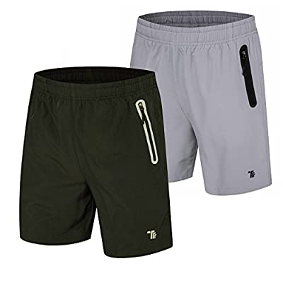 TBMPOY Men's Dry Gym Sports Jogger Shorts Active Hiking Shorts(01,Black+lightgrey,us M)