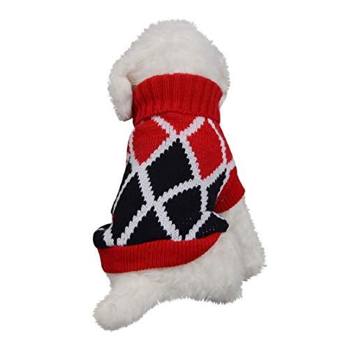 Bluelucon Kerstmis huisdier kostuum, hond rolkraag rolkraag mantel kostuum kleding warme kleding huisdier kat puppy mantel