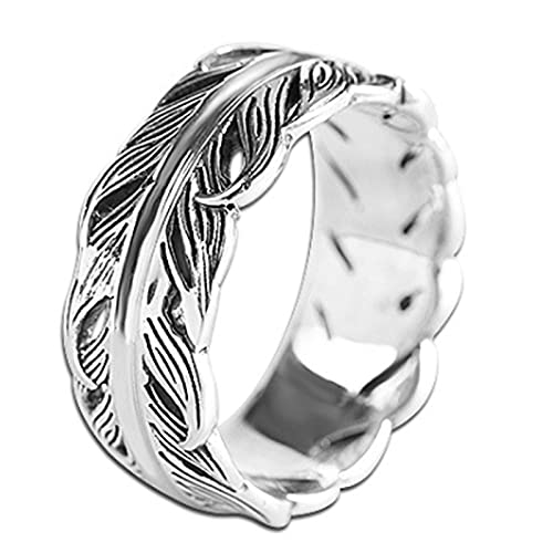 CHXISHOP Anillo de plata S925 Unisex Angel Wing Ring Fashion Party Jewelry Gift 14#-19# Plata- 15#