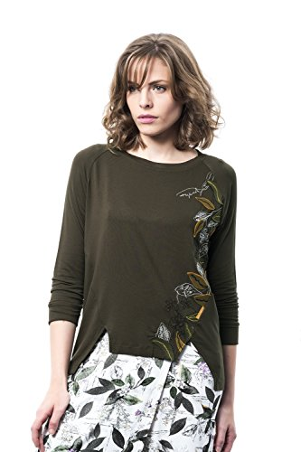 Mamatayoe Madroño Camiseta, Verde (Kaki), Large (Tamaño del Fabricante:L) para Mujer