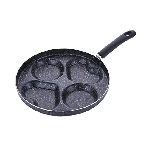 4 Holes Heart Round Shape Aluminium Omelet Pan with Wooden Handle,Non-stick Coating,Four-hole Design,uniform Heat Dissipation,Great for Burger Eggs Ham Pancake