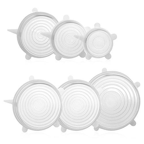 GA Homefavor Tapas de Silicona Conjunto 6 pieza Libre de BPA Cubre Tapa de Silicona Reutilizable para Recipientes, Cuencos, Tazas