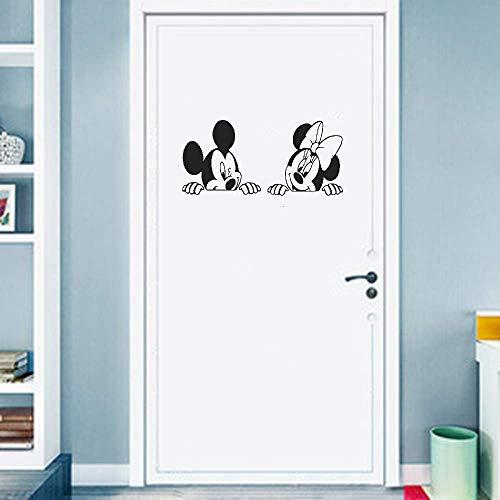 Niedliche Schlafzimmer Tür Aufkleber Aufkleber 25 * 25Cm Cartoon Micky Minnie Mouse Kinderzimmer Anime Maus Schlafzimmer Sofa Wohnzimmer Wohnkultur